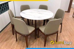hình ảnh Bộ bàn ăn 6 ghế hình tròn mặt đá BA054 kết hợp ghế grace