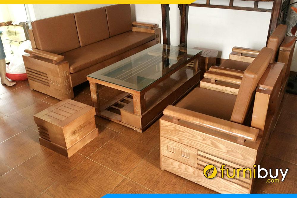 hình ảnh Bộ bàn ghế sofa gỗ sồi văn phòng FBVP1011 đẹp giá rẻ