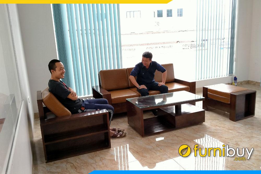 Hình ảnh Bộ bàn ghế sofa văn phòng tiếp khách sang trọng FBVP1001