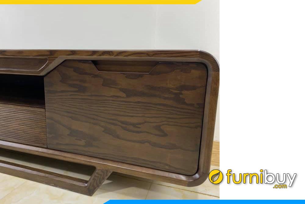 Góc chụp gần mẫu kệ tivi gỗ Sồi Nga FBK1000 chân vát
