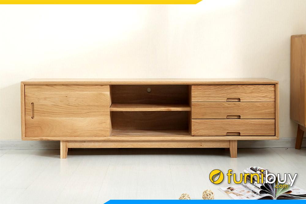 Hình ảnh Mẫu kệ để tivi gỗ cao su đơn giản FBK1024