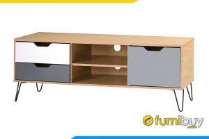 hình ảnh Kệ tivi bằng gỗ mdf chân sắt đen FBK1027