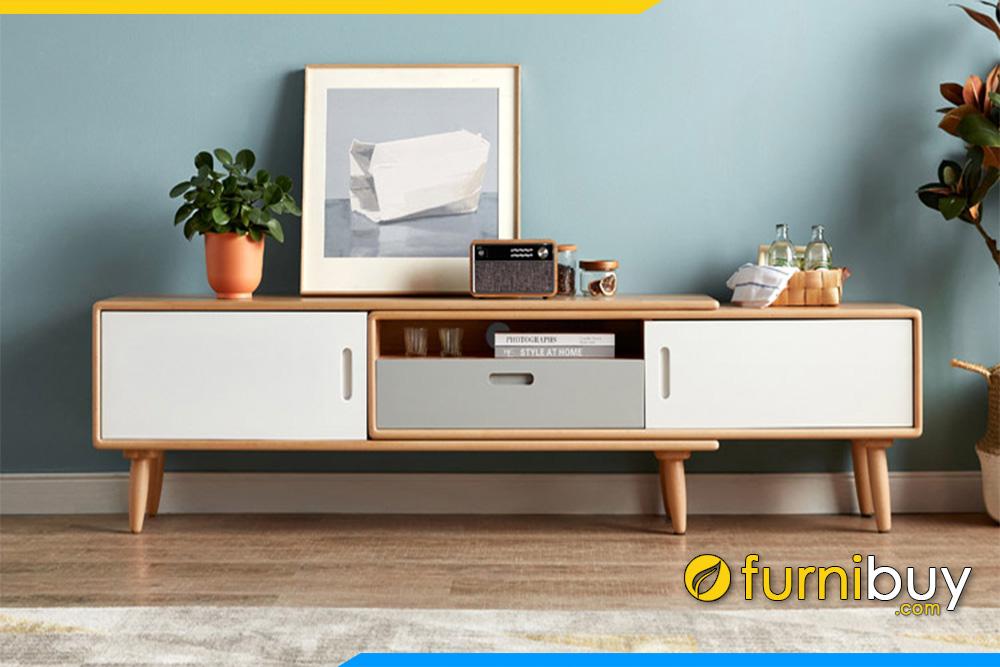 Hình ảnh Kệ tivi gỗ sồi chân cao 15cm FBK1023