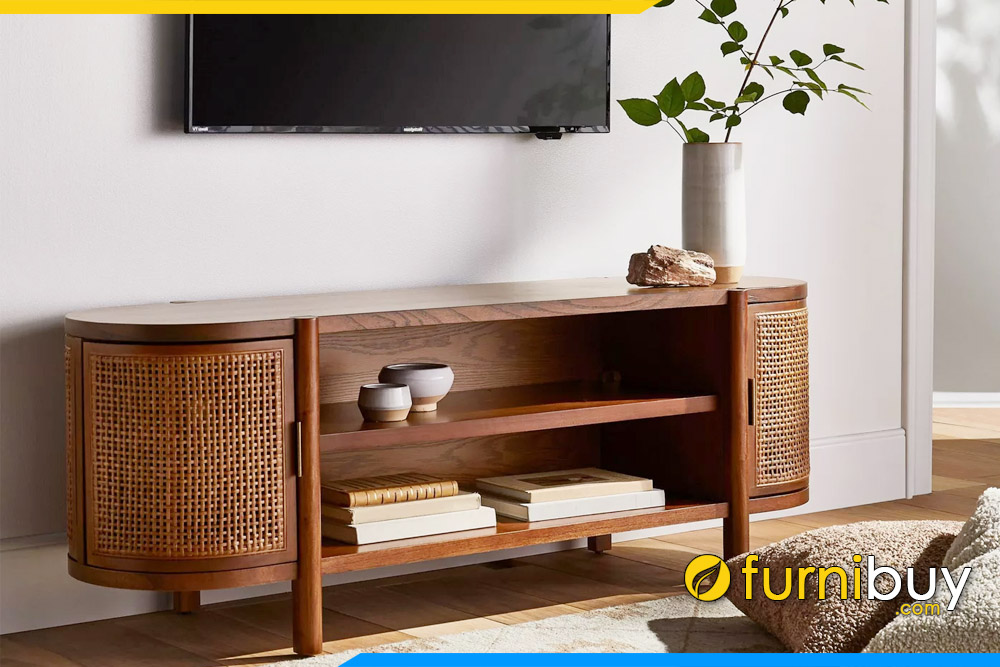Hình ảnh Mẫu kệ tivi gỗ sồi phòng khách CNC đẹp FBK1029