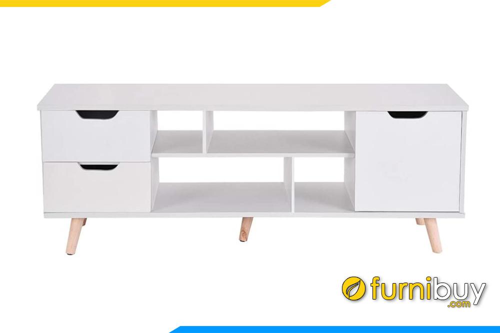 Mặt sau kệ tivi gỗ MDF màu trắng giá rẻ FBK1015