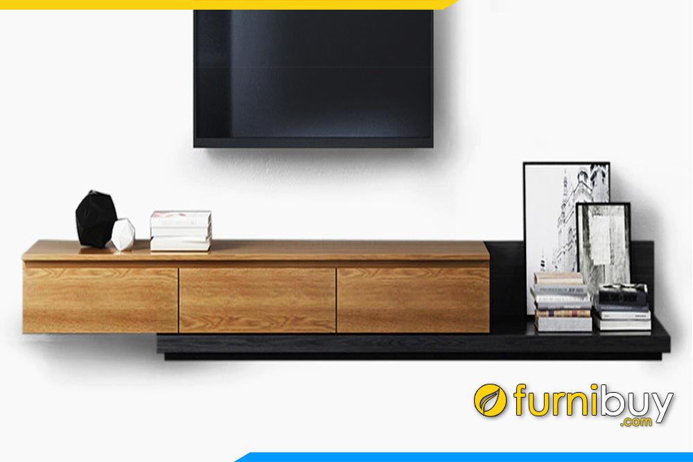 Hình ảnh Mẫu kệ tivi bằng gỗ MDF hiện đại 3 ngăn kéo FBK1006