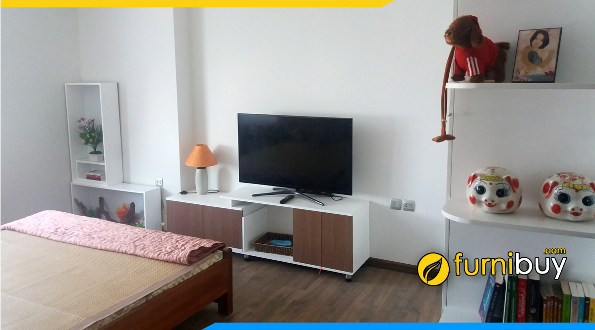 hình ảnh Mẫu kệ tivi gỗ mdf phòng ngủ nhỏ đẹp đơn giản