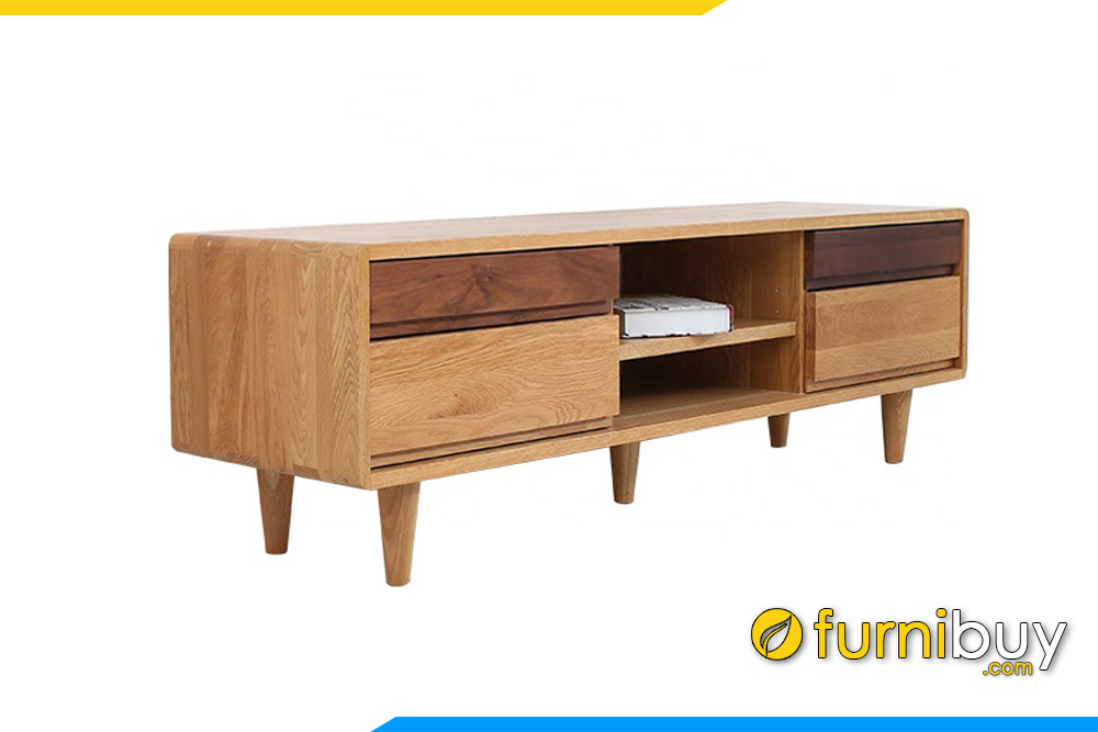 Hình ảnh Mẫu kệ tivi gỗ Sồi chân gỗ 4 ngăn kéo FBK1013