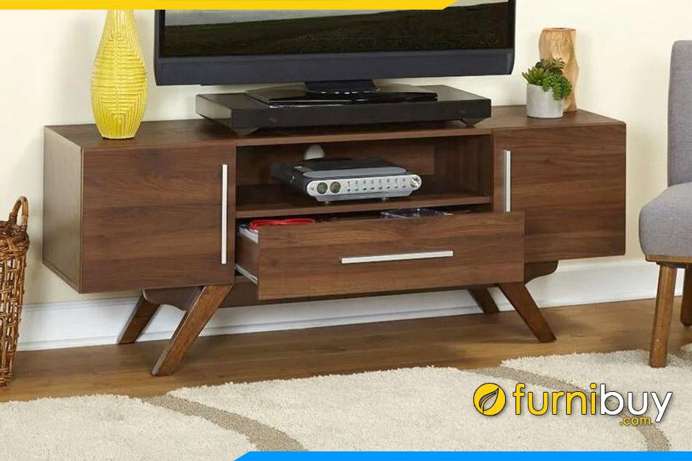 Hình ảnh Mẫu kệ tivi gỗ Sồi tự nhiên hiện đại màu cánh gián FBK1009