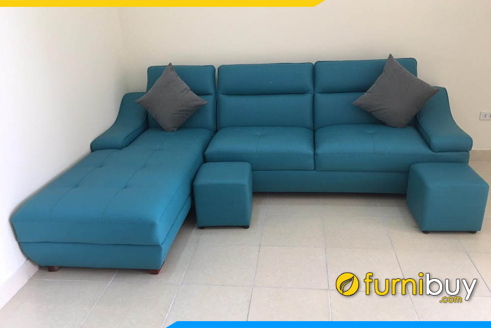 sofa goc chu l boc da mau xanh duong ke phong khach