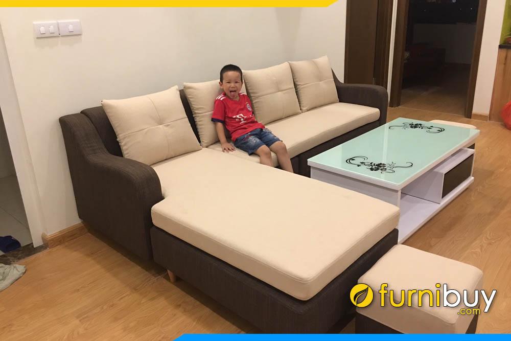 sofa phong khach chung cu hien dai phoi 2 mau
