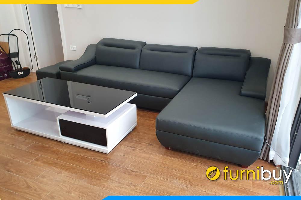 sofa phong khach don gian co tua gat gu boc da cong nghiep mau den