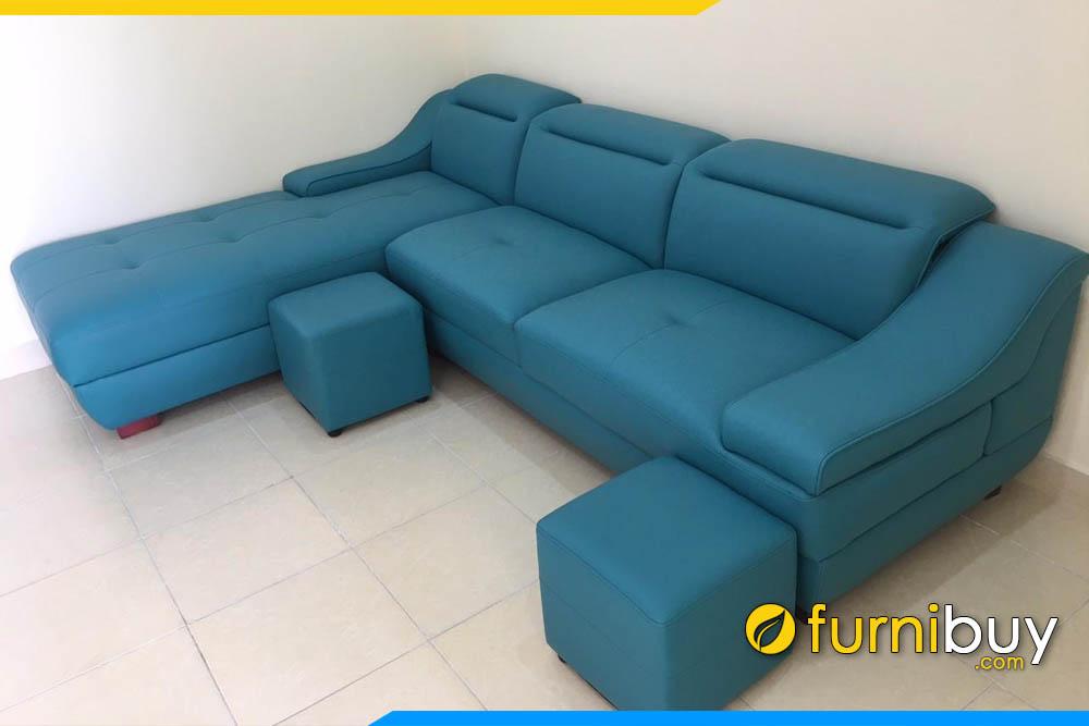 sofa phong khach mau xanh duong dang goc chu l dep