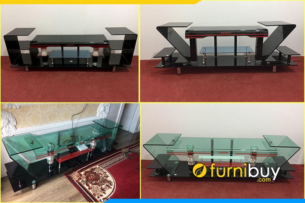 Tổng hợp mẫu kệ tivi kính cường lực 2m, 2m2 kích thước lớn phòng khách Furnibuy