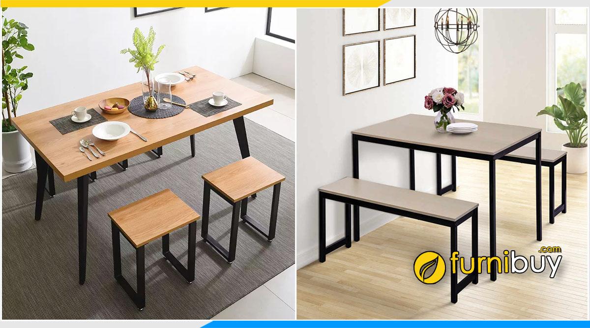 hình ảnh Bộ bàn ăn gia đình bằng gỗ công nghiệp đẹp