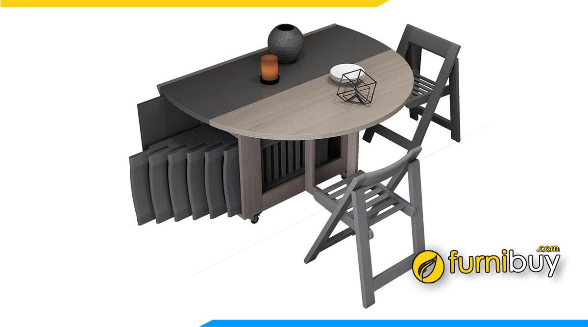 Hình ảnh Bộ bàn ăn gia đình hình tròn gấp gọn thông minh
