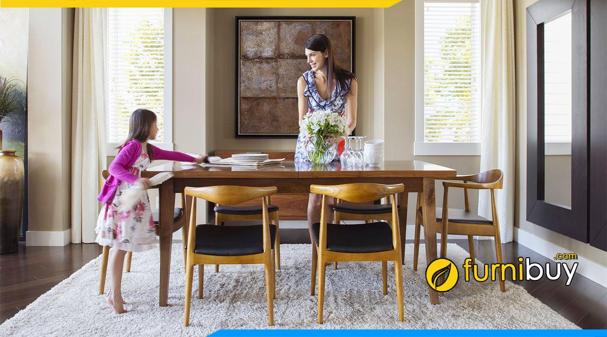 hình ảnh Bộ bàn ăn hình chữ nhật cho 4 - 6 chỗ ngồi