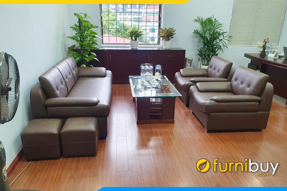 Bộ sofa da văn phòng màu nâu FBVP1016 bán chạy nhất
