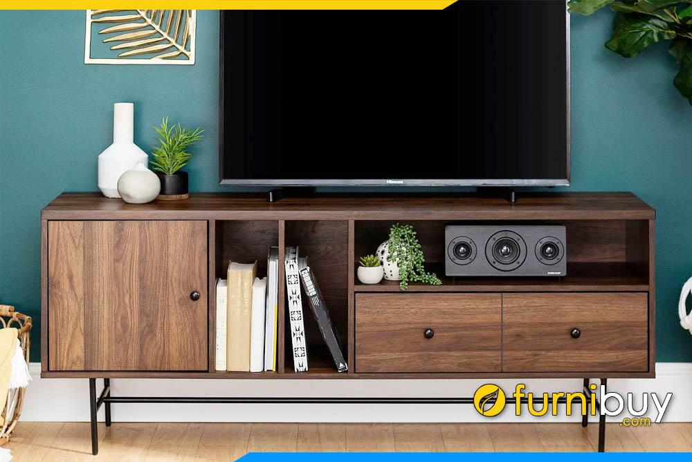 hình ảnh Chiếc kệ tivi bằng gỗ sồi màu óc chó dài 1m8 FBK1044