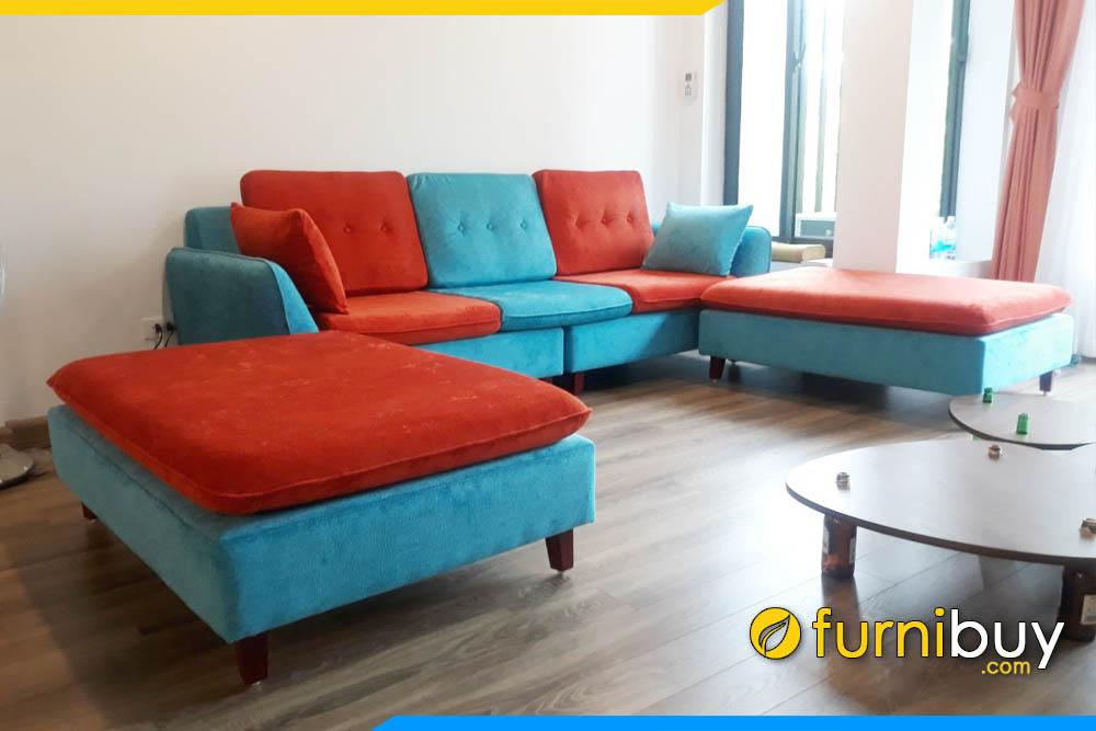 ghe sofa vang phong khach phoi mau xanh da cam