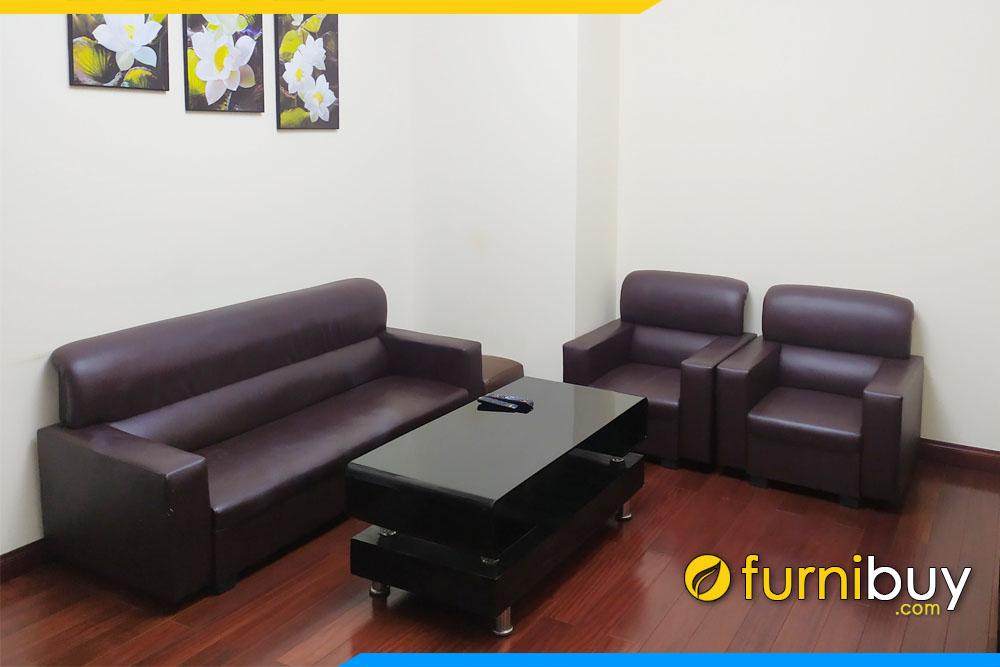 Hình ảnh Bộ sofa văn phòng giá rẻ màu nâu sang trọng FBVP1025