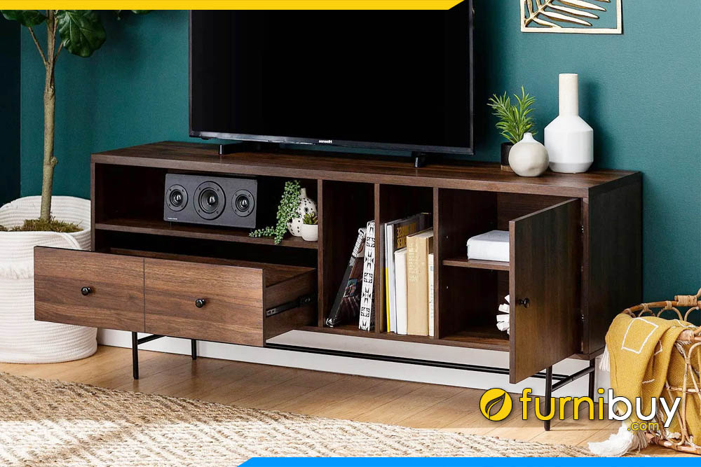 hình ảnh Mẫu kệ tivi bằng gỗ sồi hiện đại màu óc chó FBK1044