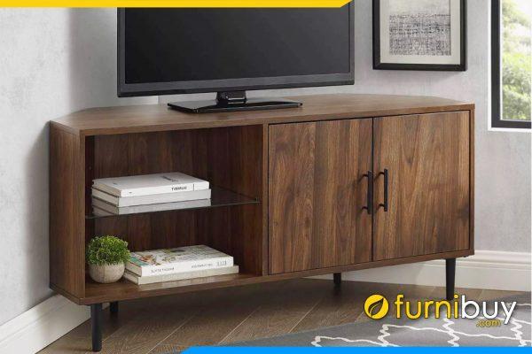 hình ảnh mẫu kệ tivi gỗ dạng góc kê phòng ngủ nhỏ gọn FBK1041