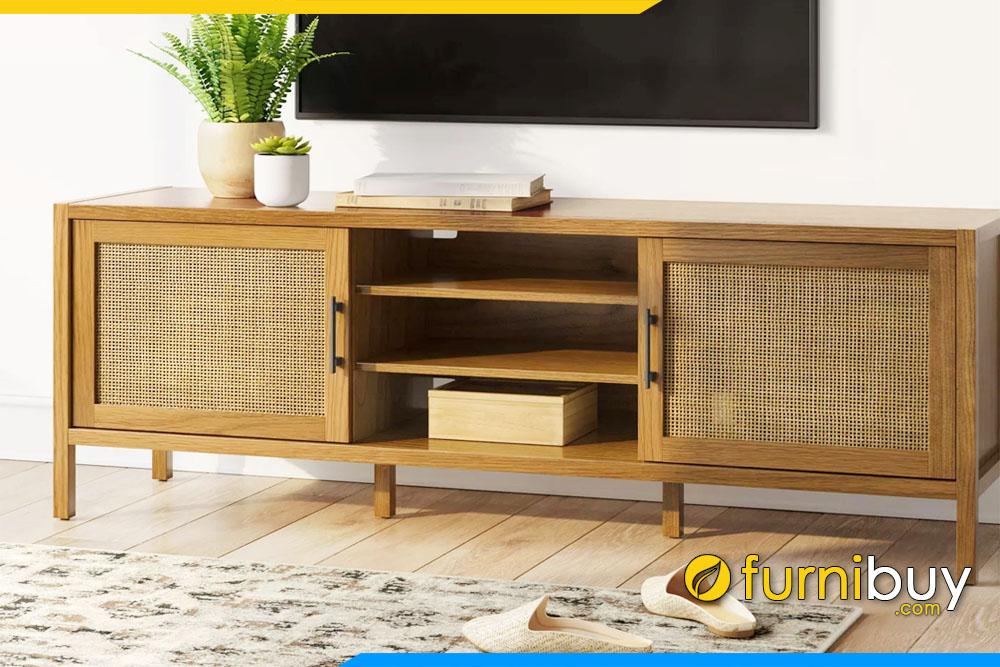 hình ảnh Mẫu kệ tivi gỗ sồi phong cách Retro đẹp FBK1032