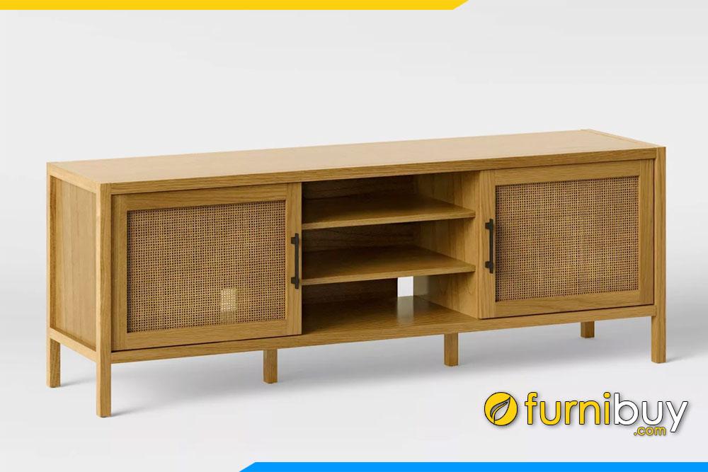 hình ảnh Mẫu kệ tivi gỗ sồi phòng khách Retro đẹp FBK1032