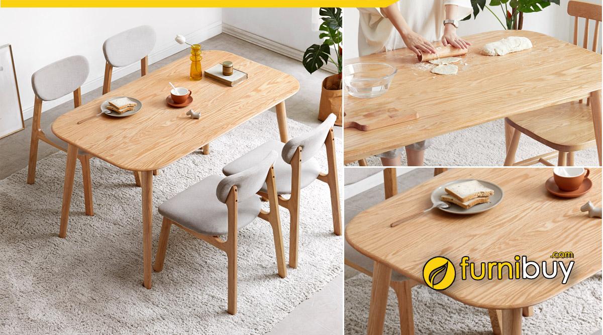 Mua online bộ bàn ăn gia đình 4 ghế giá rẻ tại Furnibuy Hà Nội