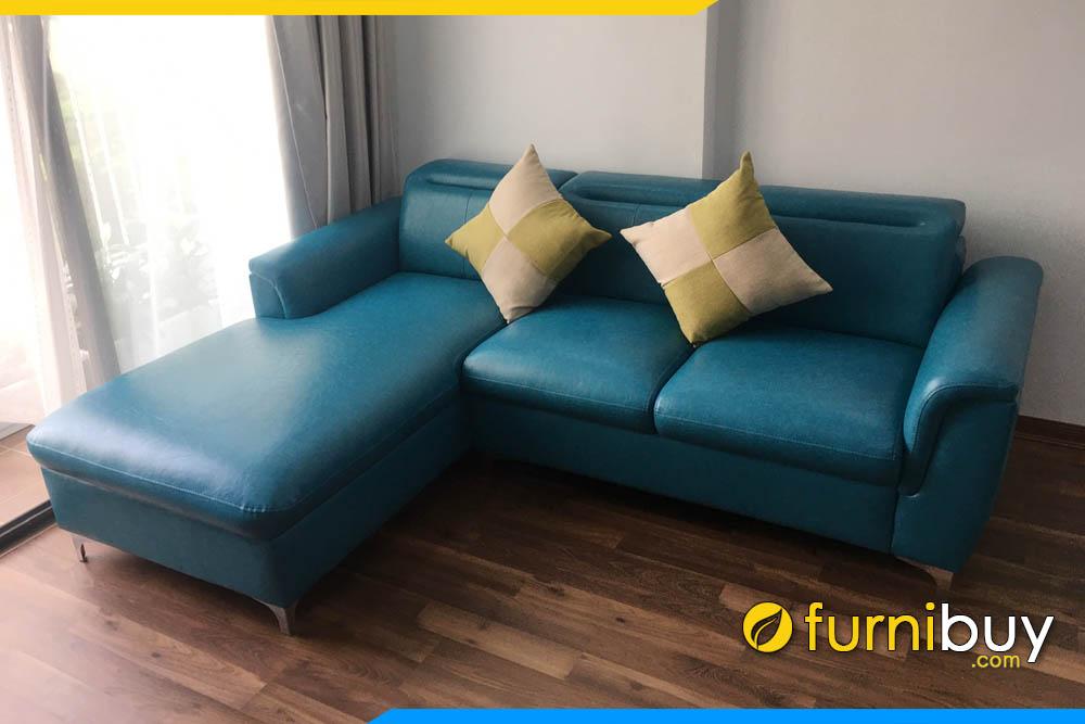 sofa phong khach boc da tron mau xanh ngoc sieu dep