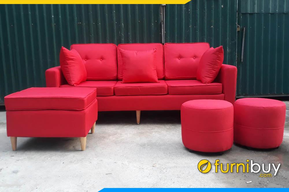 sofa phong khach boc ni mau do dang vang 3 cho ngoi