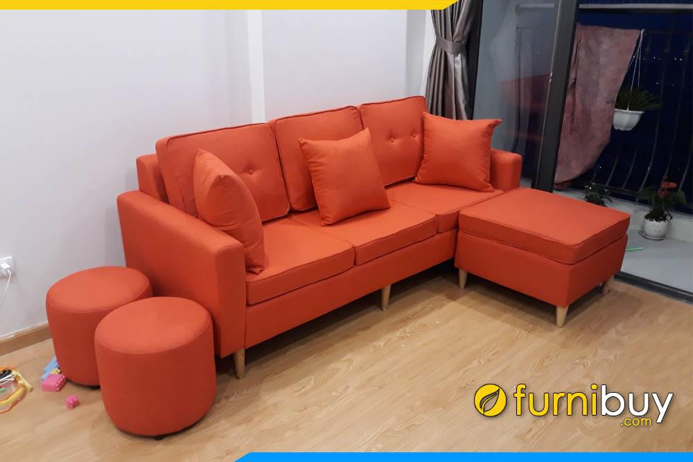sofa phong khach dang vang mini boc ni mau da cam
