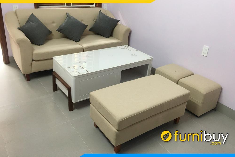 sofa vang phong khach mini 2 cho ngoi boc da khach hang dat lam theo yeu cau