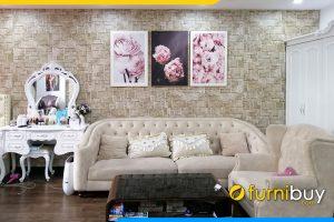 Tranh canvas hoa hong Phap 3 tam treo phong khach