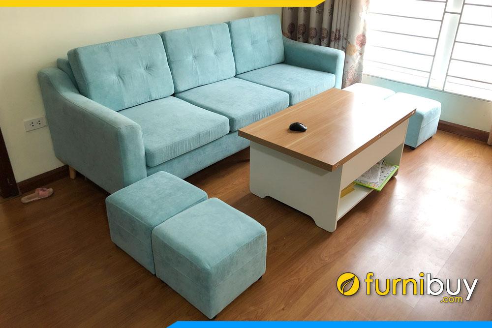 sofa phong khach dep hien dai dang vang boc ni mau xanh duong