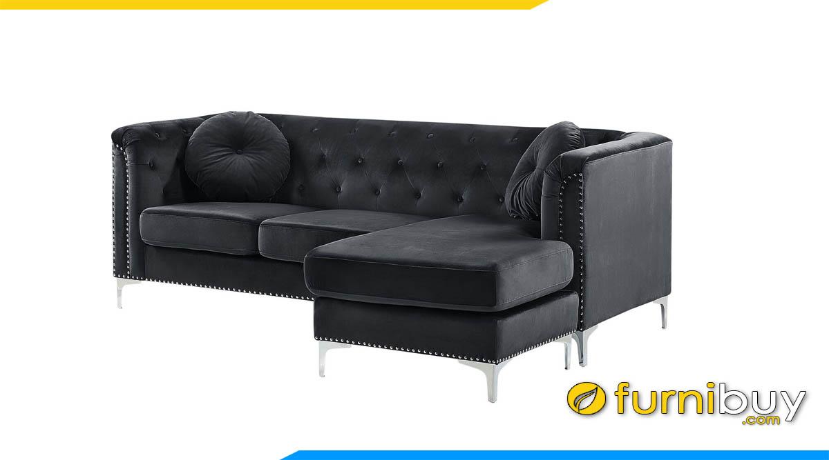 sofa tan co dien boc da mau den dang goc chu l