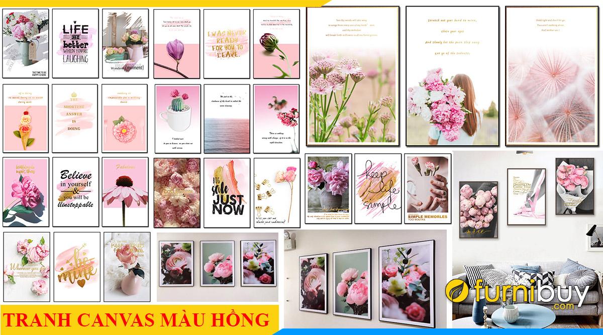 100 mau tranh canvas mau hong treo tuong ngot ngao nhat
