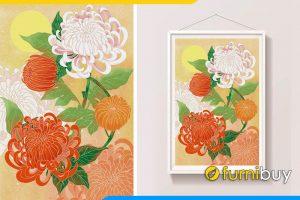 Tranh phong thuy hoa cuc duoi trang