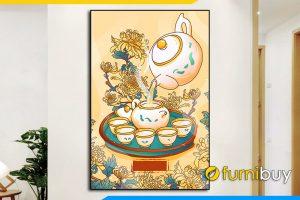 Tranh canvas phong khach tiec tra hoa cuc