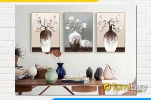 Tranh canvas binh hoa moc lan gia 3d treo tuong