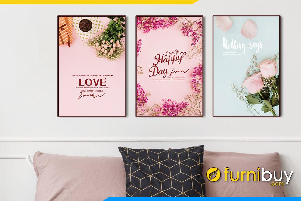 Tranh canvas hoa hong hop qua chu Love