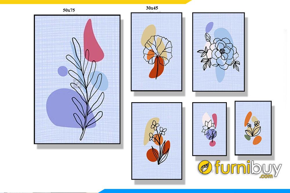 Tranh bo canvas 6 tam hoa la don gian AmiA TT 130