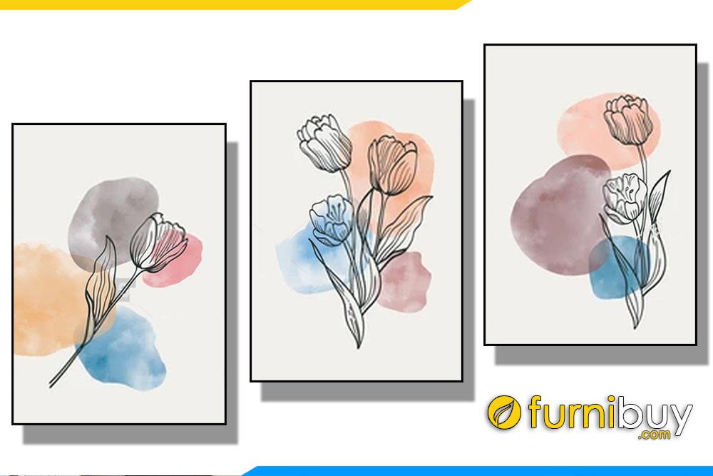 Tranh canvas 3 tam toi gian hoa tulip AmiA TT 133