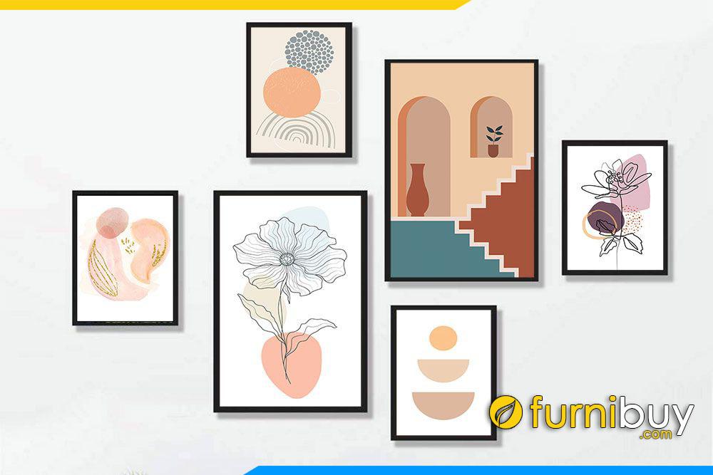 Bo tranh canvas 6 tam hoa la hinh khoi dep