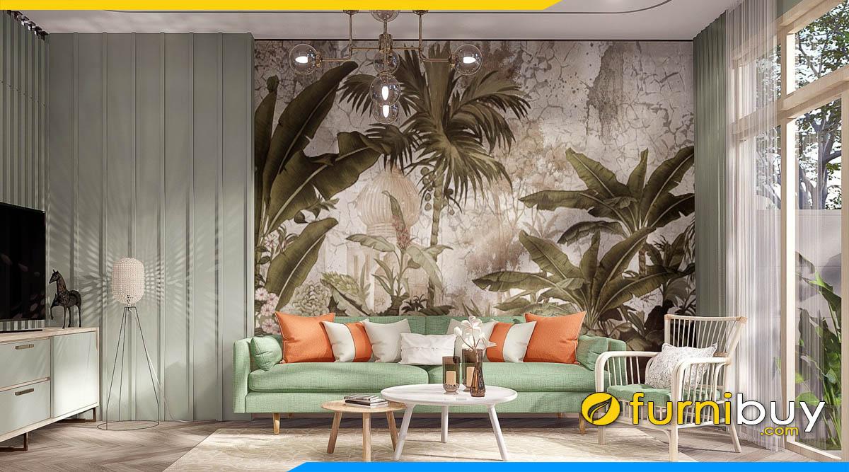 ghe sofa phong cach tropical ke phong khach sang trong