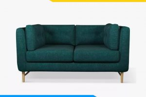 ghe sofa vang vuong ke phong khach boc ni mau xanh