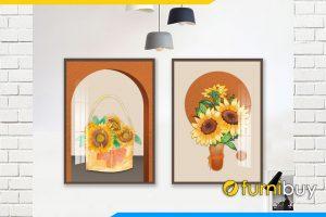 Tranh canvas 2 tam binh hoa huong duong