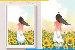 Tranh canvas phong ngu co gai giua vuon hoa huong duong