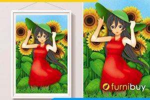 Tranh co gai vay do trong vuon hoa huong duong